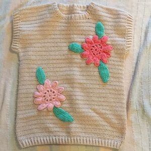 Hand made vtg S-M beige sweater vest pink flowers